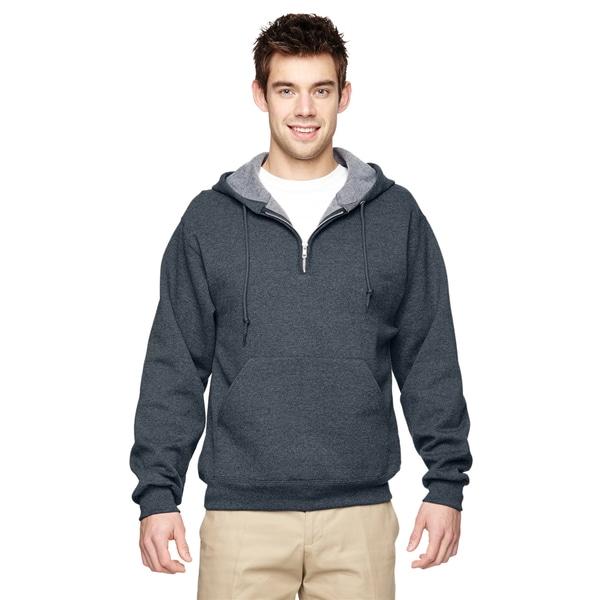 Men's 50/50 Nublend Fleece Quarter-Zip Black Heather Pullover Hood (XL)