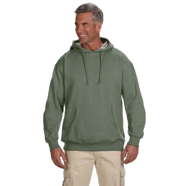 Men's Organic/Recycled Heathered Fleece Pullover Military Green Hood 20076298