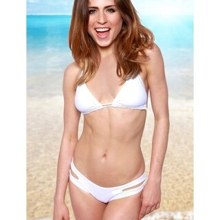 Women's White Nylon/Spandex Double Slide Triangle Swimsuit Top