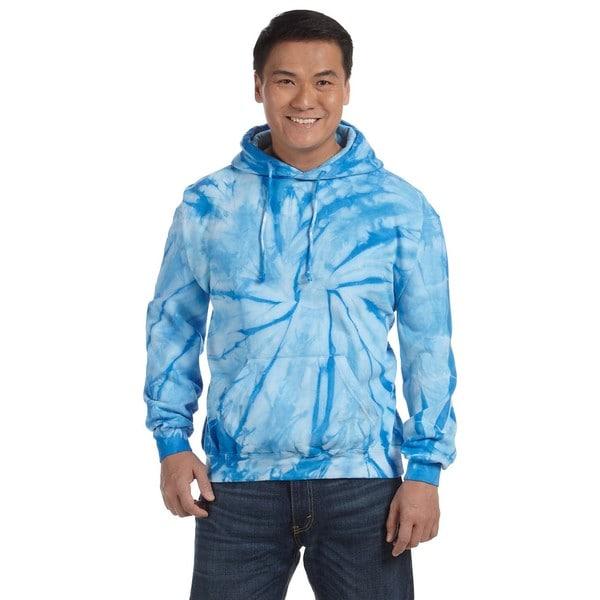 Men's Tie-Dyed Pullover Spider Baby Blue Hood (XL)