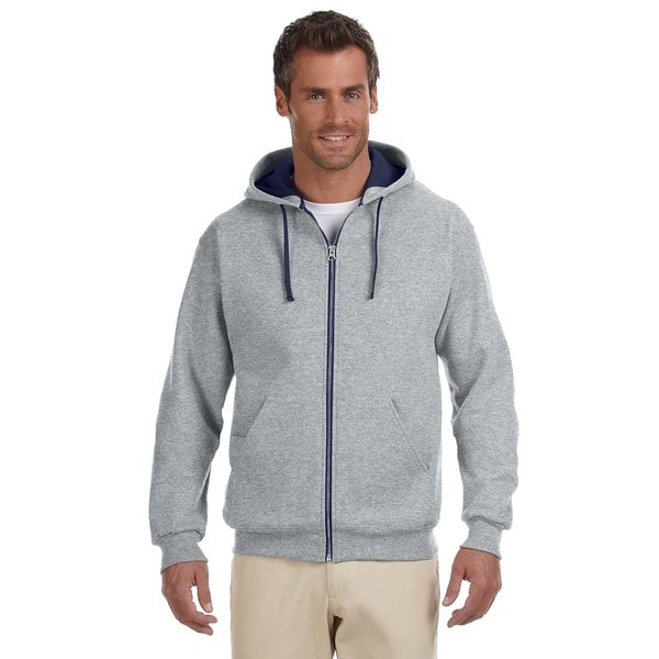Men's 50/50 Nublend Contrast Full-Zip Oxford/J Navy Hood (XL)