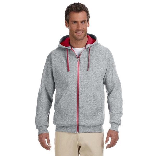 Men's 50/50 Nublend Contrast Full-Zip Oxford/True Red Hood (XL)