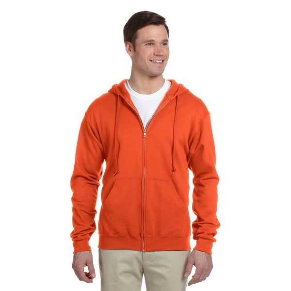 Men's 50/50 Nublend Fleece Full-Zip Burnt Orange Hood (XL)