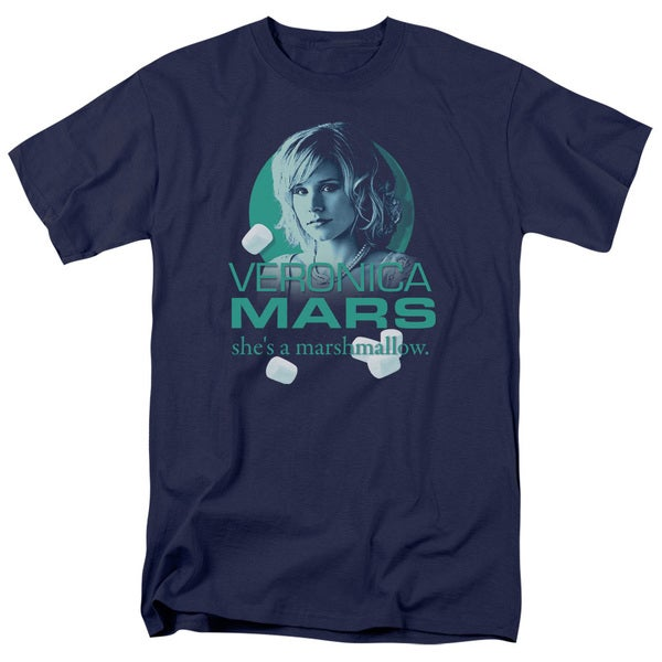 Veronica Mars/Marshmallow Logo Short Sleeve Adult T-Shirt 18/1 in Navy