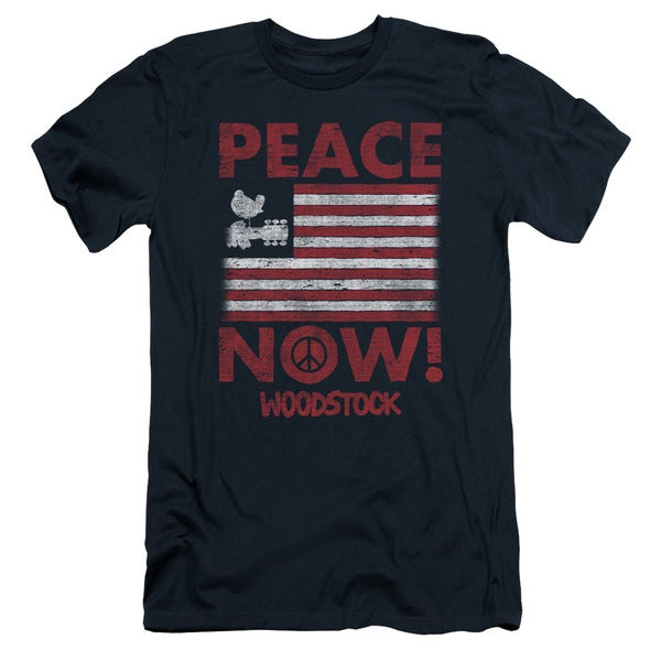 Woodstock/Peace Now Short Sleeve Adult T-Shirt 30/1 in Navy