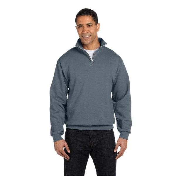 Men's Charcoal Grey 50/50 Nublend Quarter-Zip Cadet Collar Sweatshirt (XL)
