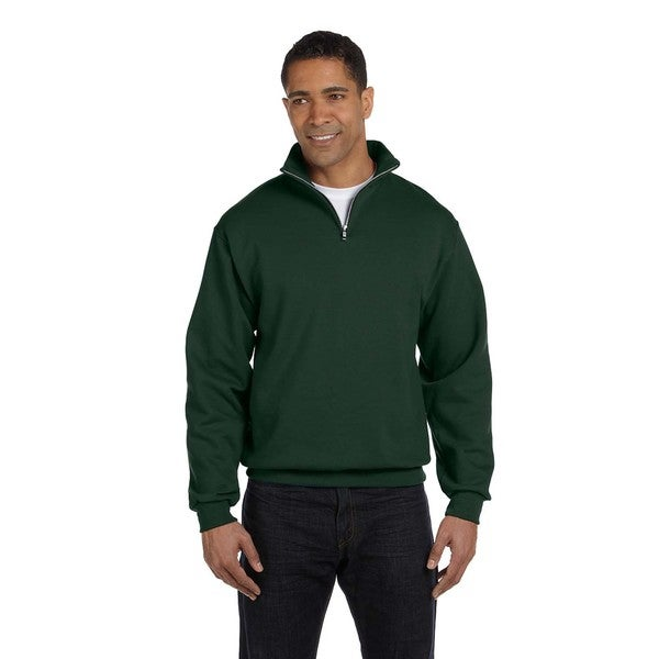 Men's Forest Green 50/50 Nublend Quarter-Zip Cadet Collar Sweatshirt
