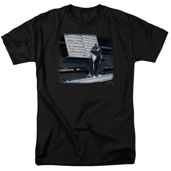 Wildlife/Kitten On The Keys Short Sleeve Adult T-Shirt 18/1 in Black