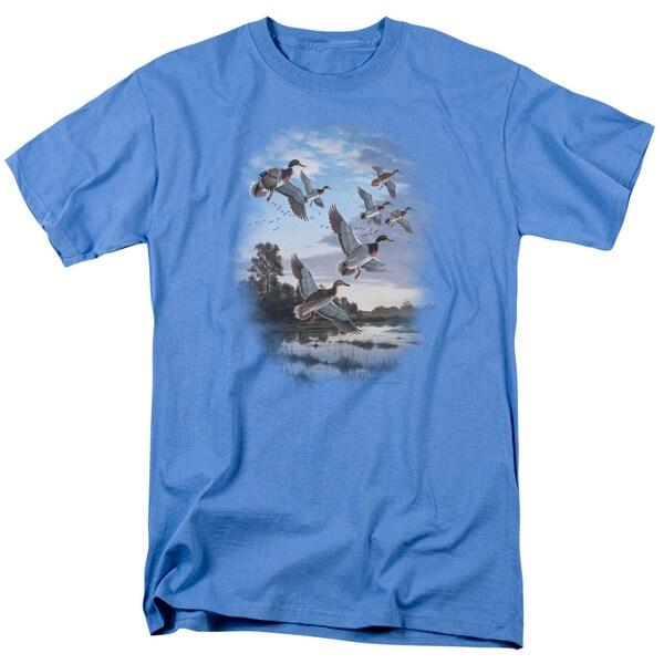 Wildlife/Evening Flight Mallards Short Sleeve Adult T-Shirt 18/1 in Carolina Blue