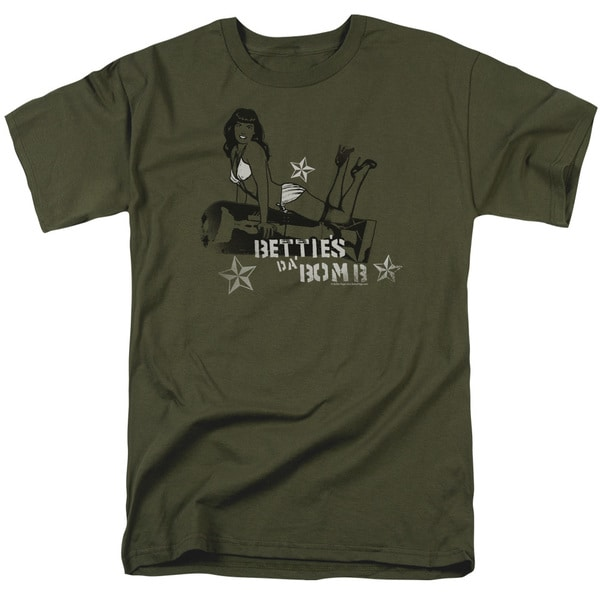 Bettie Page/Da Bomb Short Sleeve Adult T-Shirt 18/1 in Military Green