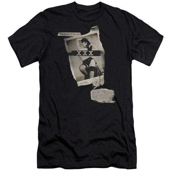 Bettie Page/Newspaper & Lace Short Sleeve Adult T-Shirt 30/1 in Black