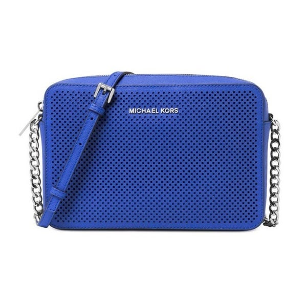 Michael Kors Jet Set Travel Large East/West Electric Blue Perforated Crossbody Handbag