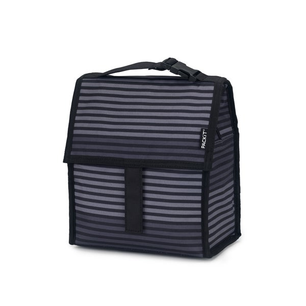 PACKiT Freezable Gray Stripe Lunch Bag