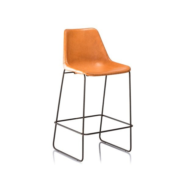Hudson Tan Leather Bar Stool