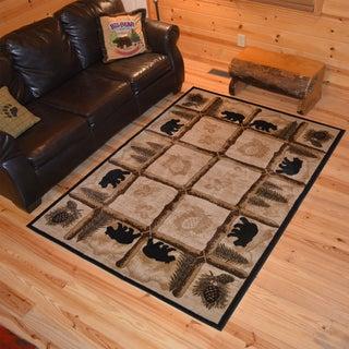 "Rustic Lodge Bear Cabin Ivory Area Rug (2'2 x 3'3) - 2'3"" x 3'3"""
