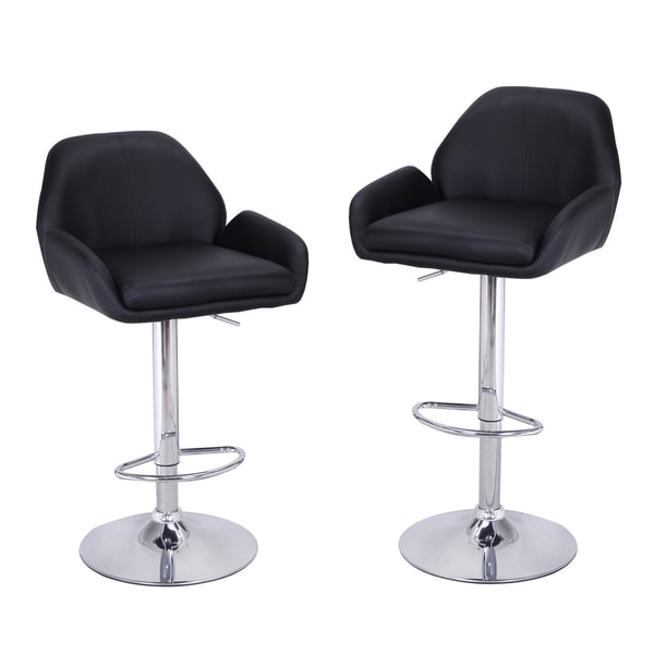 Adeco Black Leatherette Adjustable Low Cut Out Back Barstool