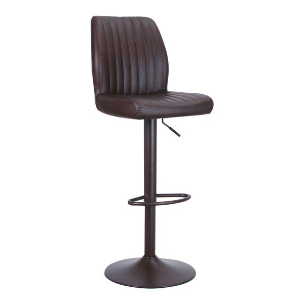 Adeco Adjustable Hydraulic Bar Stools Full Back Accent Chair