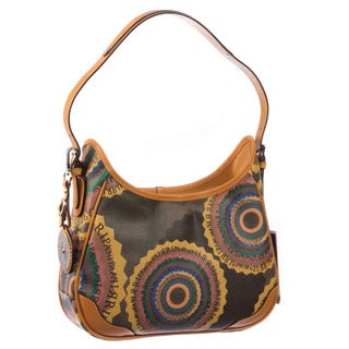 Ripani Time Signature Brown Canvas/Leather 11-inch High x 7.5-inch Wide x 3-inch Deep Satchel Bag with 6-inch Handle Drop