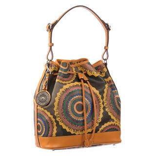 Ripani Time Signature Women's Brown Leather and Canvas Drawstring Shoulder Bag