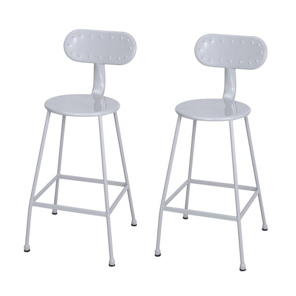 Adeco 26 inches Metal Industrial Dining Bistro Cafe Dining Chairs, Set of Two 20081918