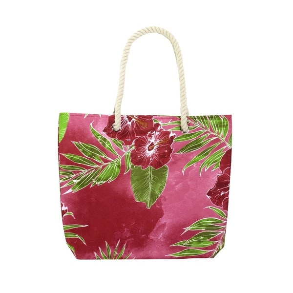 Hawaiian Tropic Leilani Pink Floral Polyester Rope Handle Beach Tote