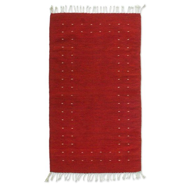 Handcrafted 'Fire in the Sky' Red Zapotec Wool Rug (2.5 x 5) (Mexico)