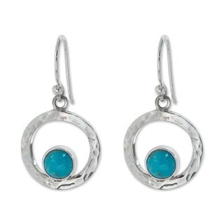 Handcrafted Silver 'Eye of the Sea' Turquoise Earrings (Mexico)