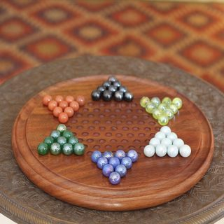 Handcrafted Sheesham Wood 'Strategy Time' Chinese Checkers (India)