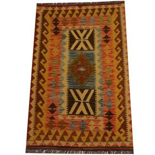 Herat Oriental Afghan Hand-woven Vegetable Dye Wool Kilim (3'3 x 5')