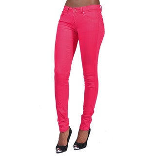 C'est Toi Fuchsia Solid Color 4-pocket Skinny Jeans