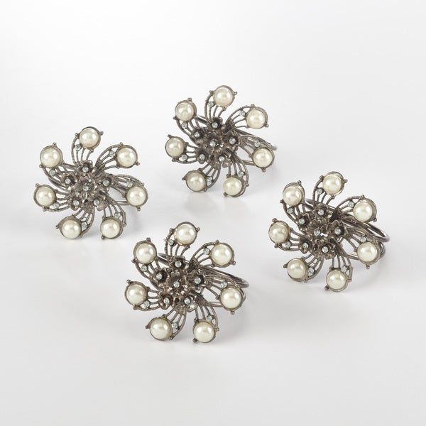 Napkin Ring Collection Bejeweled Design Napkin Ring (Set of 4)