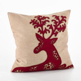 Cervidae Design Embroidered Deer Design Throw Pillow - FLD