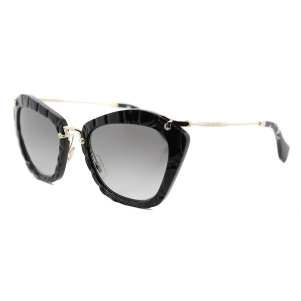 Miu Miu MU 10NS USW3M1 Noir Black Plastic Cat-Eye Grey Gradient Lens Sunglasses