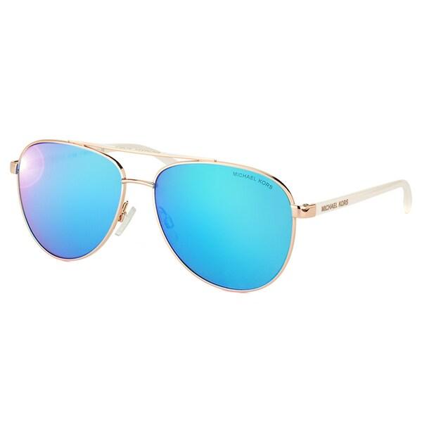 Michael Kors MK 5007 104525 Hvar Rose Gold Metal Aviator Blue Mirror Lens Sunglasses