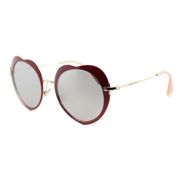Miu Miu MU 54RS USS2B0 The Collection Miu Miu Red Metal Fashion Silver Mirror Lens Sunglasses
