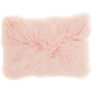 Mina Victory Couture Fur Rose Throw Pillow (14-inch x 20-inch) by Nourison