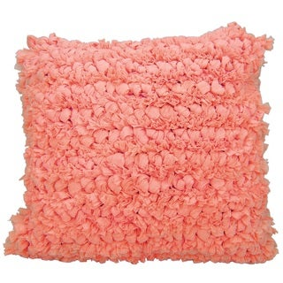 Mina Victory Shag Paper Loop Coral Throw Pillow (16-inch x 16-inch) by Nourison