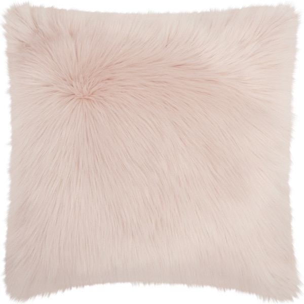 Mina Victory Faux Fur Rose Throw Pillow (22-inch x 22-inch) by Nourison