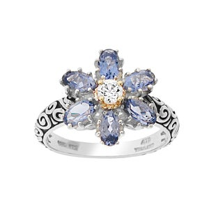 Meredith Leigh Sterling Silver and 14k Gold Iolite Flower Rings