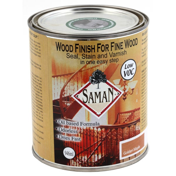 Saman Products SAM-302-1L 946 ML Golden Maple Wood Finish Seal, Stain & Varnish
