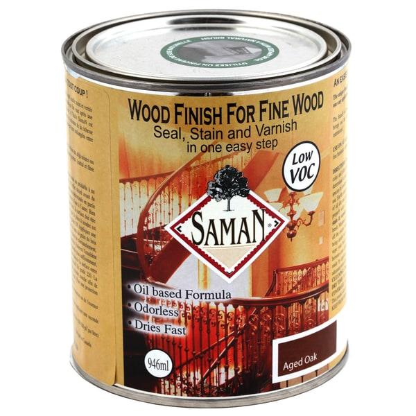 Saman Products SAM-307-1L 946 ML Aged Oak Wood Finish Seal, Stain & Varnish