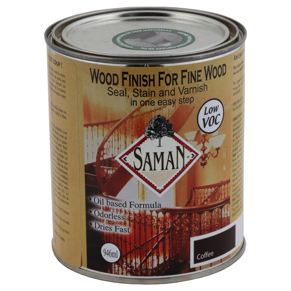 Saman Products SAM-310-1L 946 ML Coffee Wood Finish Seal, Stain, & Varnish