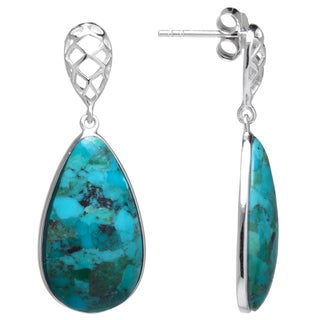 Sterling Silver Enhanced Turquoise Honeycomb Post Drop Earrings