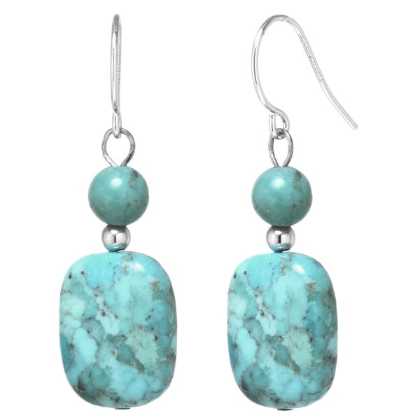 Sterling Silver Enhanced Turquoise Rectangle Stone Drop Earrings