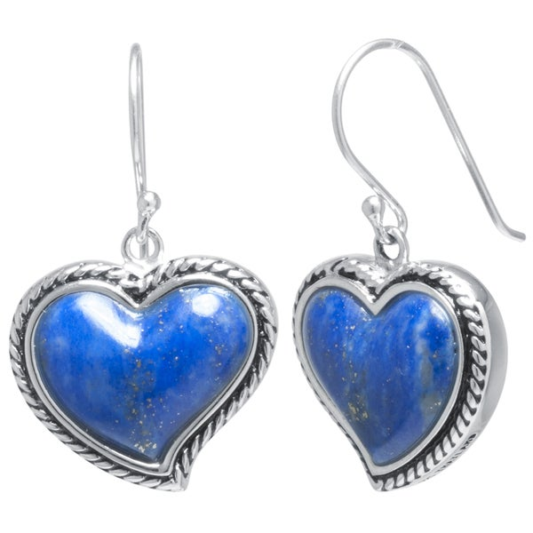 Sterling Silver Lapis Heart Inlay Drop Earrings