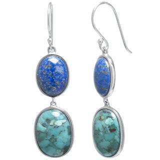 Sterling Silver Enhanced Turquoise and Dyed Lapis Oval Double Drop Earrings