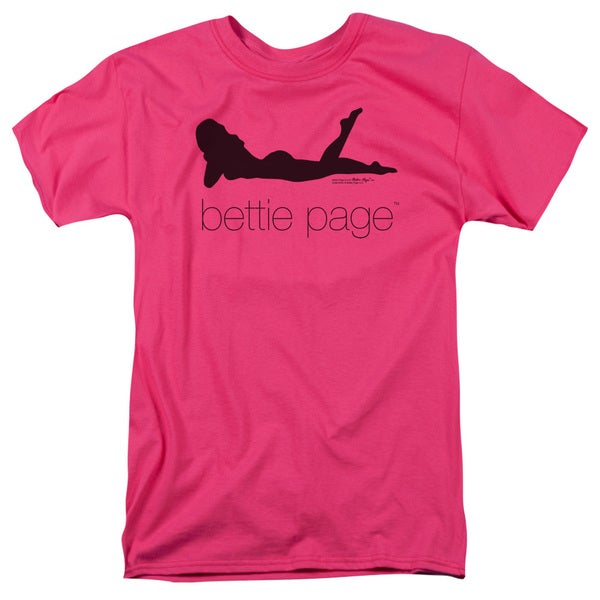 Bettie Page/Fashion Logo Short Sleeve Adult T-Shirt 18/1 in Hot Pink