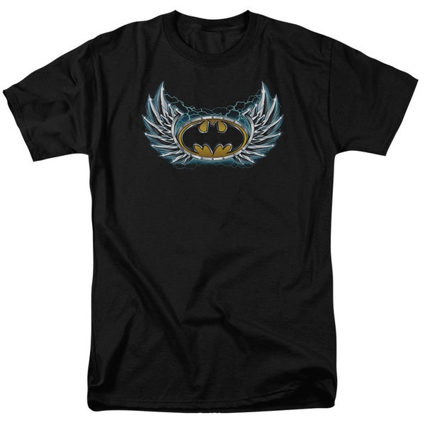 Batman/Steel Wings Logo Short Sleeve Adult T-Shirt 18/1 in Black