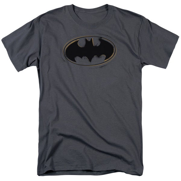 Batman/Spray Paint Logo Short Sleeve Adult T-Shirt 18/1 in Charcoal