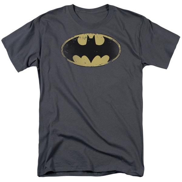 Batman/Distressed Shield Short Sleeve Adult T-Shirt 18/1 in Charcoal